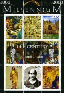 Tajikistan 1999 MILLENNIUM 14th.Century 1300-1400 sheet Perforated Mint (NH)
