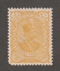 Persia Stamp, Scott# 115, mint hinged, 3 Kran, yellow, yellow gum,#L-63