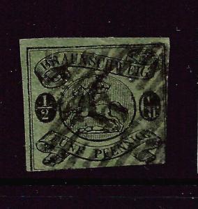 BRUNSWICK  1861-64  1/2gr   BLACK/BLUE GREEN   FU   SG 15