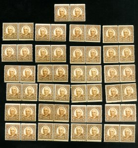 US Stamps # 686 F-VF Lot of 25 fresh lines pairs OG NH Scott Value $287.00