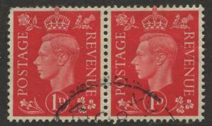 Great Britain - Scott 236 - KGVI Definitive -1937 -FU -Horiz.Pair of 1p Stamp