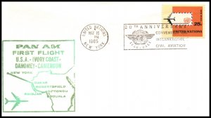 UN New York to Dahomey Pan Am 1965 First Jet Flight Cover