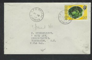 DOMINICA COVER (P1902B) 1976 QEII 20C  ROUSSEAU  TO ENGLAND
