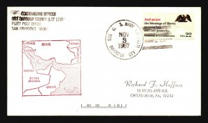 USS Barbour County 1987 Cover / Manama Bahrain Posting - L312