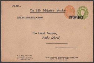 NEW ZEALAND GVI Education Dept envelope Form E-19/19  TWOPENCE opt..........Q561