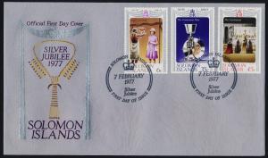 Solomon Islands 345-7 on FDC - Queen Elizabeth Silver Jubilee