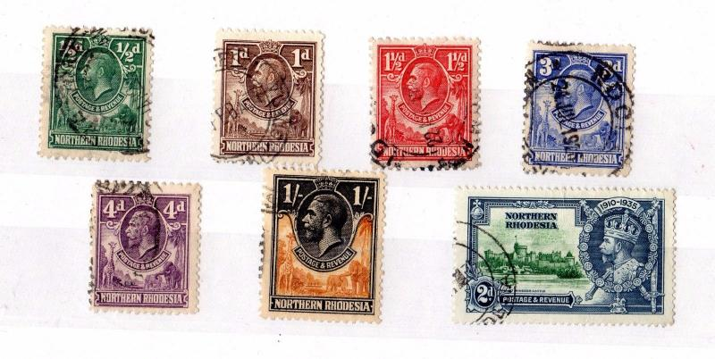 Northern Rhodesia KGV Collection of 7 to 1/- Fine Used X5457