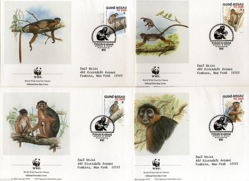 Guinea Bissau 1992 WWF - Western Red Colobus Monkey Wild Life Animals Sc 944 FDC
