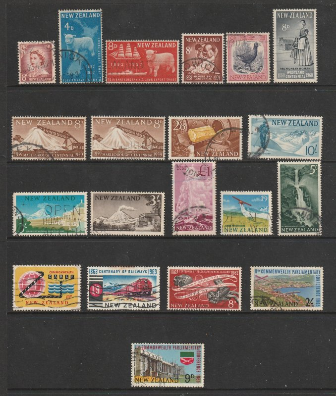 New Zealand a small used lot of early QE2 (pre decimal) era better values