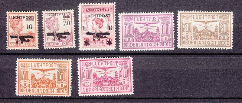 J27480 1928 netherlands indies parts of set mh #c1-2,c5,c6-7,c8,c10 airplanes