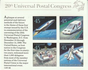 Stamp US Sc C126 Sheet 1989 20th Universal Postal Congress  Shuttle NASA Moon MN