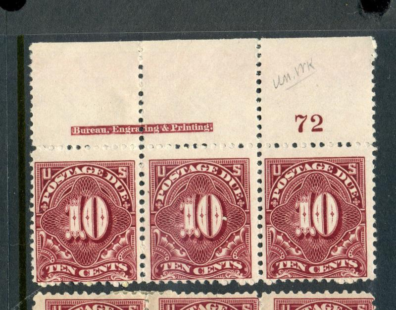 Scott #J35 Postage Due Mint Plate # & Imprint Strip of 3 (Stock #J35-3)