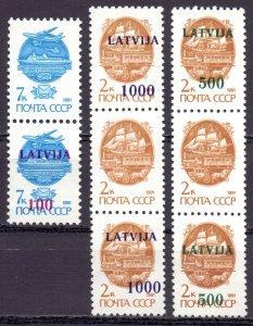 Latvia. 1991. SC 313I, 315I, 316I. Overprint standard. MNH.