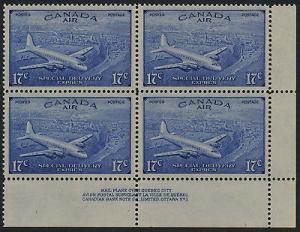 Canada CE3 BR Plate Block MNH Aircraft