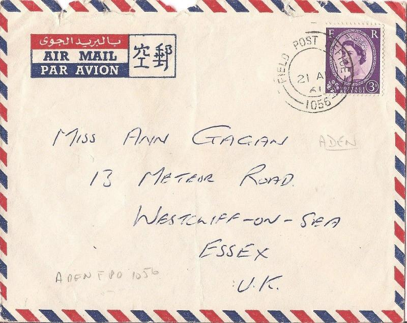 Aden GB FPO 1056 forces mail (bag)