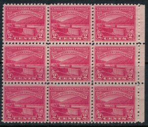 U.S. #681* NH Block of 9  CV $8.55