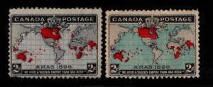 Canada Scott 85-86 MH* Christmas 1898 Map Stamp CV $90