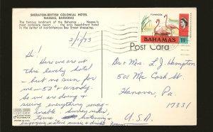 Bahamas 322 Flamingos on Postmarked 1973 to USA Postcard Used