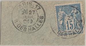 FRANCE - 1899 - Obl. CàD type A PARIS-17 / R. DES HALLES sur Yv.101 15c t.II