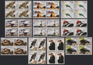 Zaire Birds 10v Blocks of 4 T1 SG#1133-1142 SC#1091-1100 MI#792-801