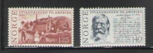 Norway Sc 658-9 1975 Emigration stamps mint  NH