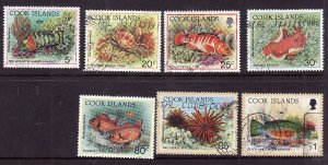 Cook Islands-Sc#1058//1080-seven used stamps from the set-Marine Life-Fish-1992-