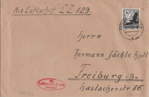 GERMANY POSTAL HISTORY AIRMAIL COVER ZEPPELIN LZ129 ADDR FREIBURG CANC YR'1936