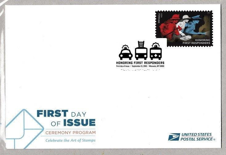 US 5316 Honoring First Responders Ceremony Program FDC 2018 HipStamp