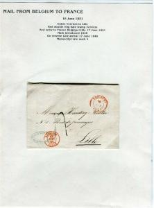 FRANCE Early Incoming LETTER/COVER 1851 fine used item Verviers - Lille