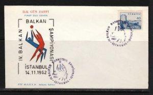Turkey, 14/NOV/1962 issue. Istanbul Balkan Games cancel on cachet cover.^
