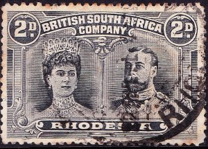 RHODESIA - BRITISH SOUTH AFRICA CO 1910KEDVII 2d Black & Grey SG126Used