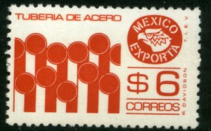 MEXICO Exporta 1121a, $6P Pipes Perf 11 1/2 X 11 Fluor Paper 7 MINT, NH. VF.