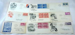 9 USA AirMail Stamps FDC SC# C42 C45-C49 C56 First Day Cover Collection