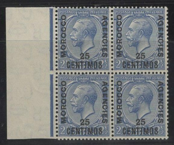 MOROCCO AGENCIES SG147w 1925 25c on 2½d BLUE WMK INVERTED BLOCK OF 4 MNH