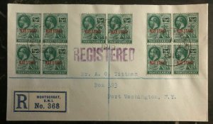 1919 Montserrat Registered Cover to Port Washington NY USA War Stamp