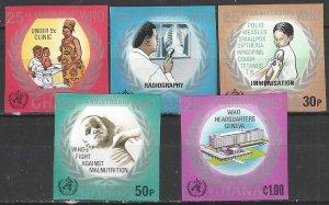 Ghana 479-83  IMP  MNH  UN WHO 25th Anniversary