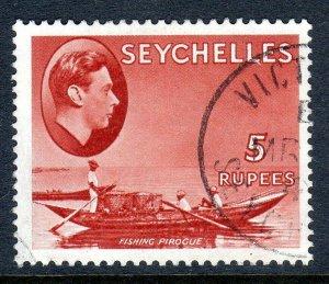 SEYCHELLES-- 1938- sg145  -5 rupees  - chalk  - used -  £18..