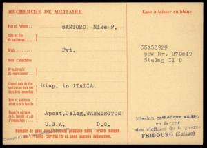 USA 1944 Italy Germany POW Camp Stalag II Red Cross Cover Catholic Switzer 89673