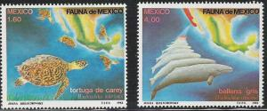 Mexico- Scott 1281-1282 MNH Sea Turtles and Grey Whales mint, unused pair