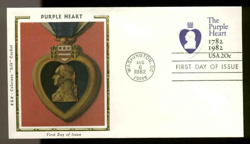 U.S. FDC #U603 Colorano Silk Cachet Washington, DC Purple Heart Medal