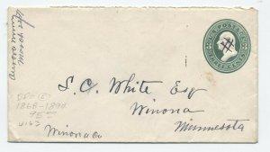 1871 Aurora MN manuscript postmark on 3ct envelope DPO 1868-94 [y5243]