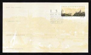 Canada-Sc#2214-stamp on FDC-2007-Capital Sesquicentennial,Ottawa-