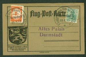 GERMANY, 1912 First Flight cancelled Darmstadt w/special 20pf semi-postal
