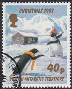 British Antarctic Territory 1997 used Sc #251 40p Penguins snowballs Christmas