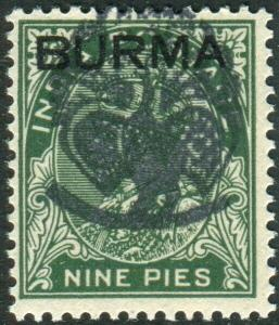 JAPANESE OCCUPATION OF BURMA-1942 9p Deep Green unmounted mint Sg J1