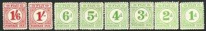 1940 Fiji complete postage due MLMH set (8) Sc#  J12 / J19