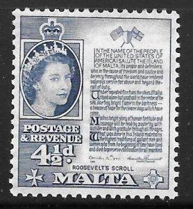 Malta 253: 4.5d Roosevelt's Scroll, MH, F-VF