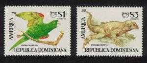 Dominican Rep. Conure Bird Iguana Endangered Animals 2v 1993 MNH SG#1838-1839