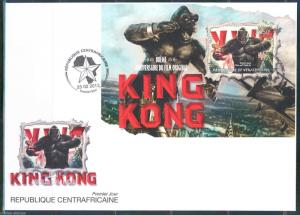 CENTRAL AFRICA  80th ANNIVERSARY KING KONG FAY WRAY  S/S  FIRST DAY COVER