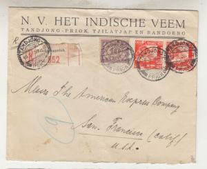 NETHERLANDS EAST INDIES, 1936 Reg. cover, Tanjung Priok to USA via Singapore.